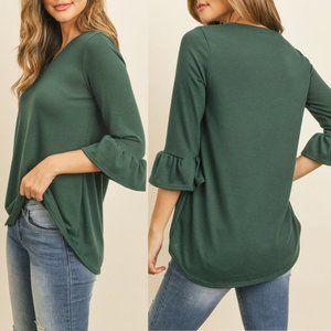 Green Ruffle Top {Riah Fashion}
